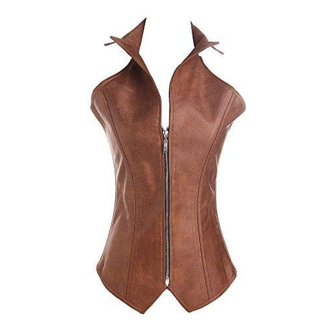 Faux Leather Zipper Front Corset