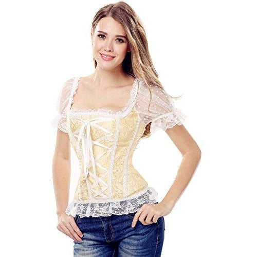 Floral Tapestry Brocade Lace up Boned Overbust Corset
