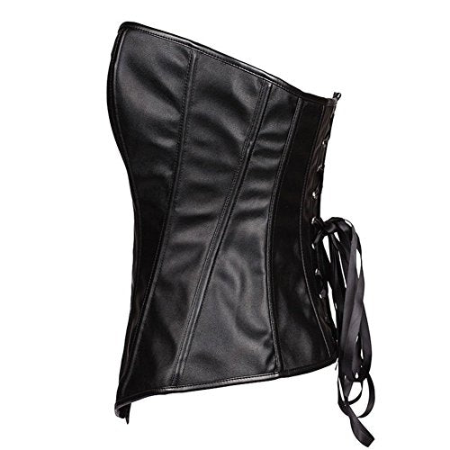 Faux Leather Corset Bustier Zipper Corset 113-2