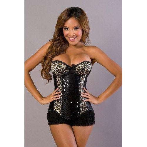 Leopard Sequin Panel Corset
