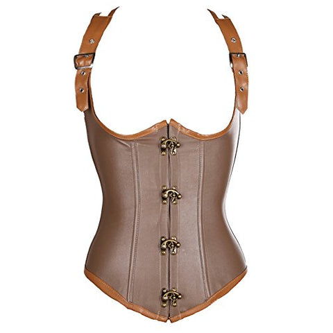 Steampunk Faux Leather Buckle Corset