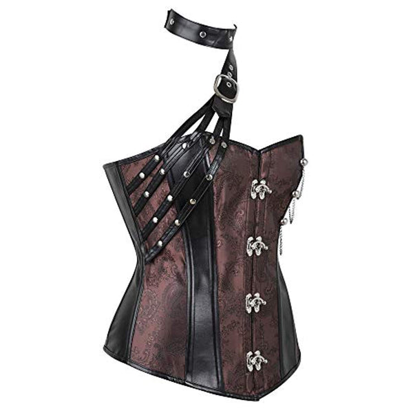 Women's Steampunk Halter Faux Leather Jacquard Corset V1720
