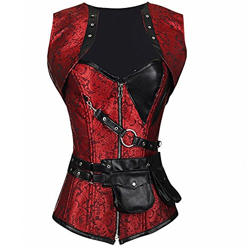 Steampunk Boned Vintage Retro Knight Corset Tops 693
