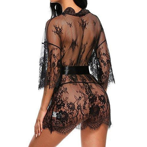 Robe Babydoll Lingerie Mesh Nightgown