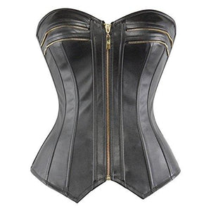 Faux Leather Corset Bustier Top Strapless Plus Size