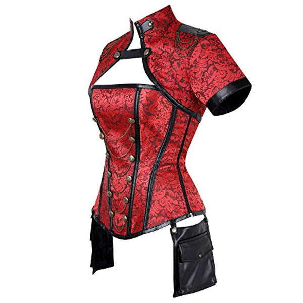 Women's Steampunk Jacket Corset with Gold Red 719