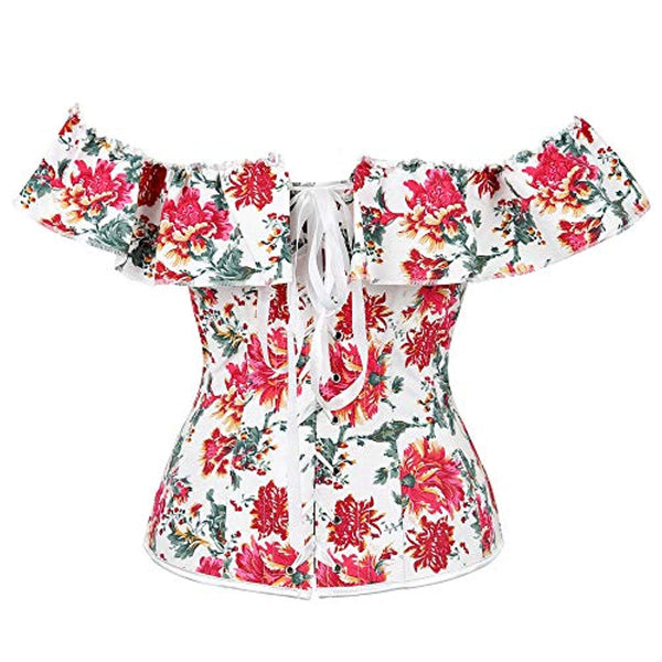 Women's Sexy Strapless Floral Overbust Off Shoulder Corset