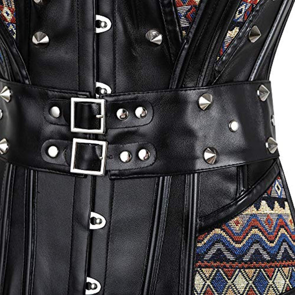 Women's Steampunk Faux Leather Jacquard Rivets Corset V1717