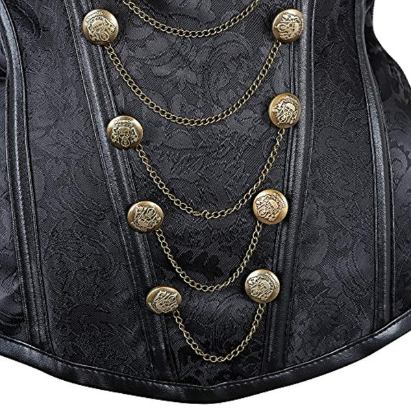 Women's Steampunk Jacket Corset with Gold Chains-719