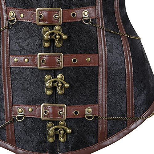 lttcbro Women's Steampunk Gothic Steel Boned Corset Brocade Bustiers With Chains