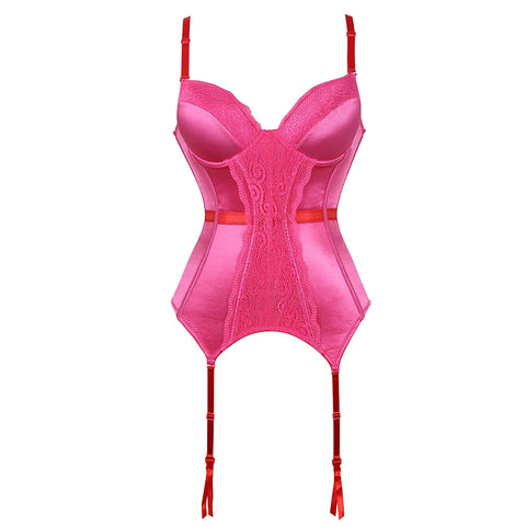 Women's Sexy Push Up Corset Bustiers Lingerie Set with Garter
