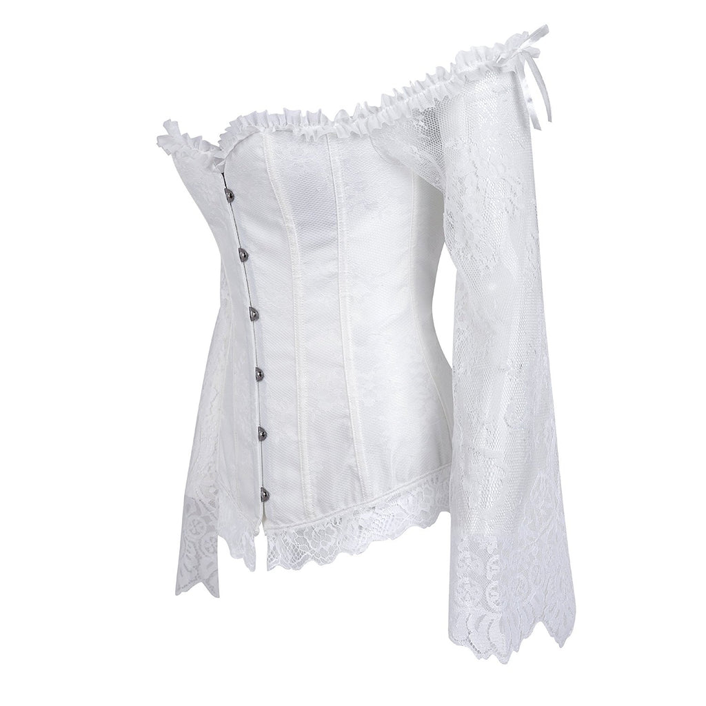 bb9cd306b48 ... Vintage Off Shoulder Steampunk Corset With Lace Long Sleeves 1708 White  ...