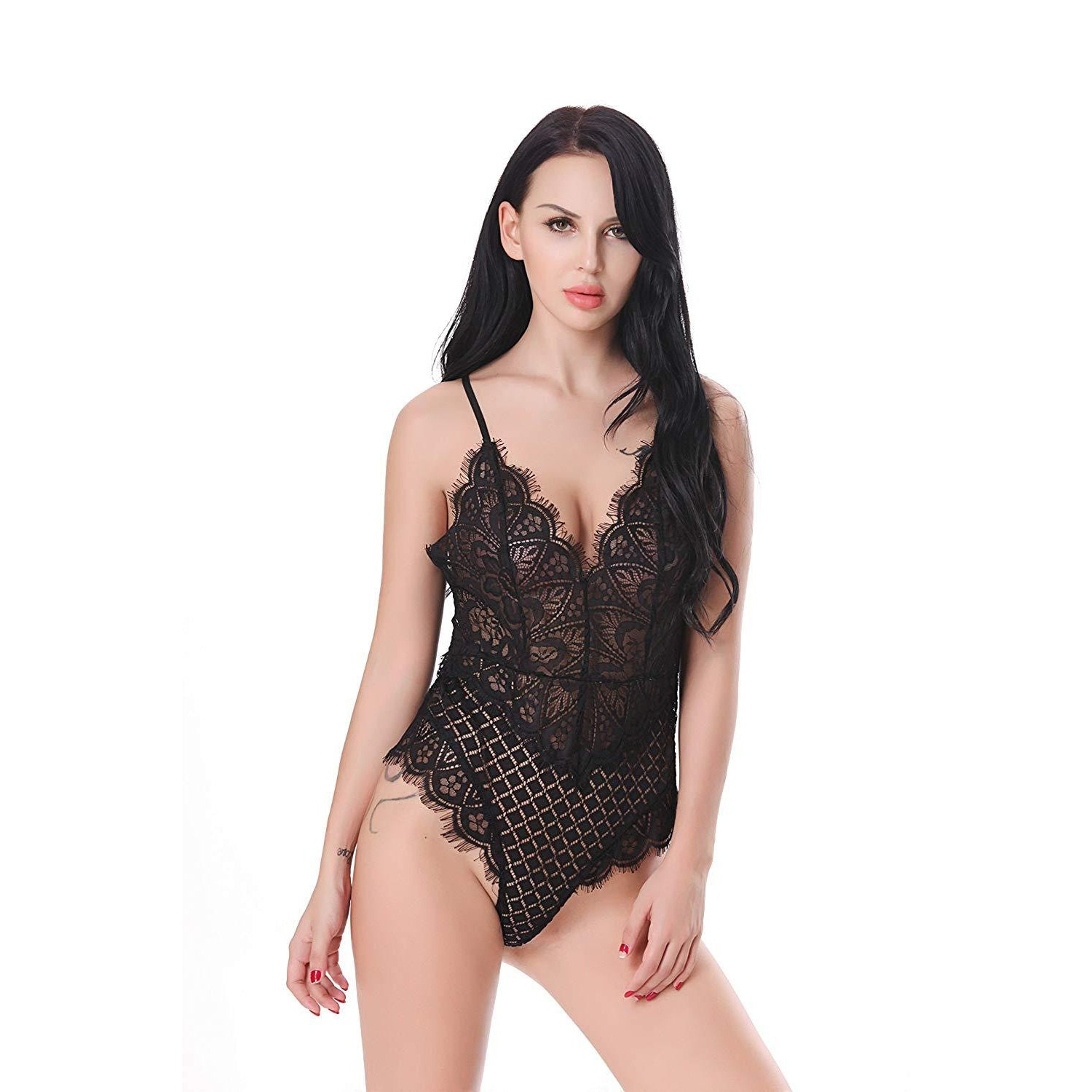 black lace teddy lingerie