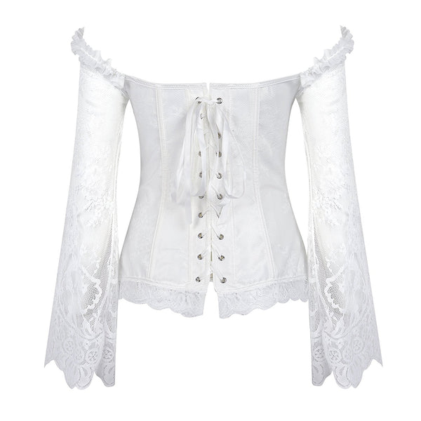 Vintage Off Shoulder Steampunk Corset With Lace Long Sleeves 1708 White
