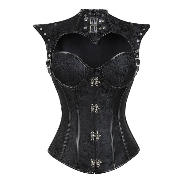 Steampunk Corset With Decorative Cap Sleeve Shrug 1714 Black