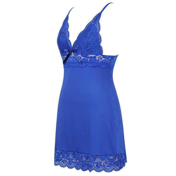 Women's Full Slip Sleepwear Lingerie Strap Night gown Blue