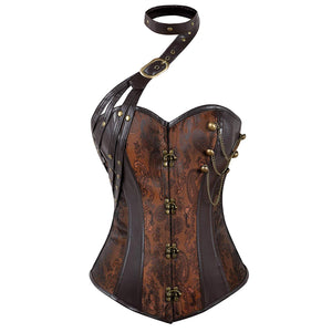 Women's Steampunk Halter Faux Leather Jacquard Corset Gold Brown V1720