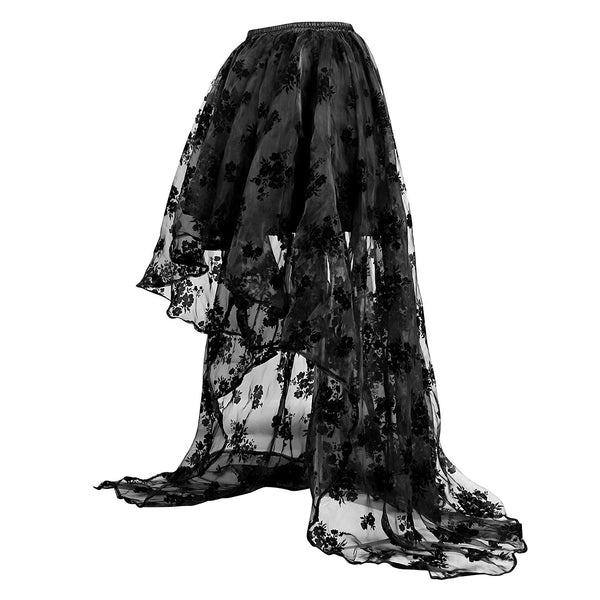 Black Floral Lace Asymmetrical Victoria Gothic Long Maxi Skirt Party Dress