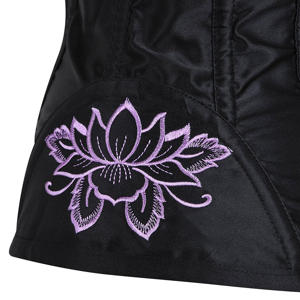 Retro Floral Embroidery Corset Steel Boned Overbust Bustier Top