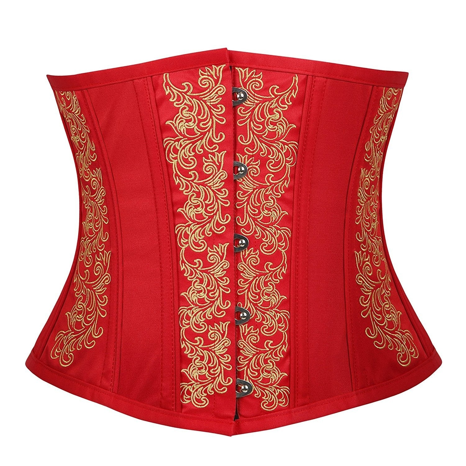 Gothic Vintage Embroidery Waist Trainer Corset Short Torso Red
