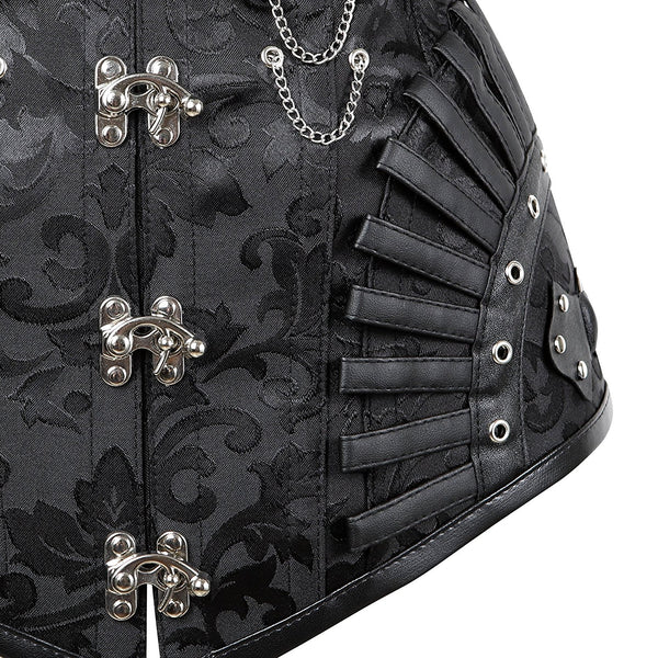 lttcbro Women's Gothic Steampunk Steel Boned Corset With Chains Leather Hanging Bustiers