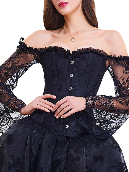 black lace sleeves corset