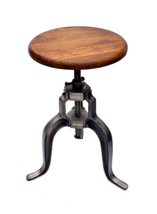 Bar Stool - Tri Leg Metal with Round Wood Seat