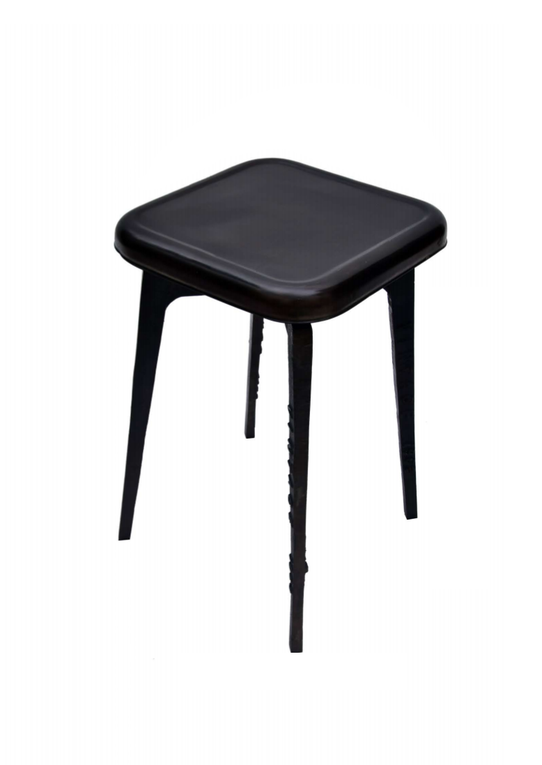Bar Stool - Black Metal 4 Leg