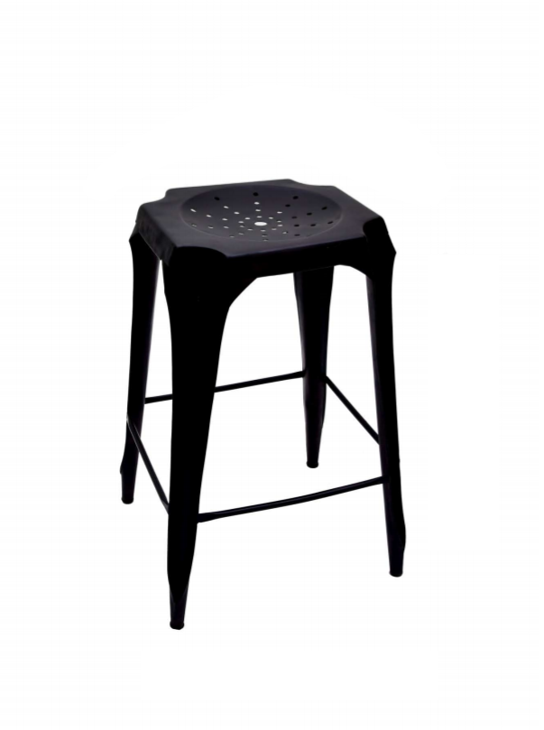Bar Stool - Hole Top Black Metal
