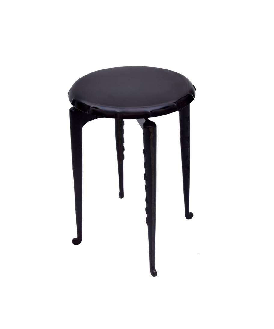 Black Bar Stool - Metal Base with Round Wood Seat