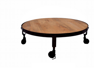 Metal and Wood Round Coffee Table with Wheels