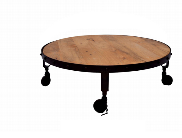 Wood Round Table.Metal And Wood Round Coffee Table With Wheels