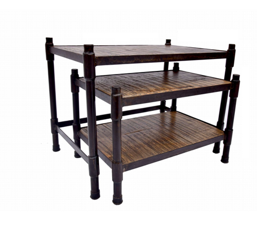 Black Metal and Wood Side End Tables Set of 2