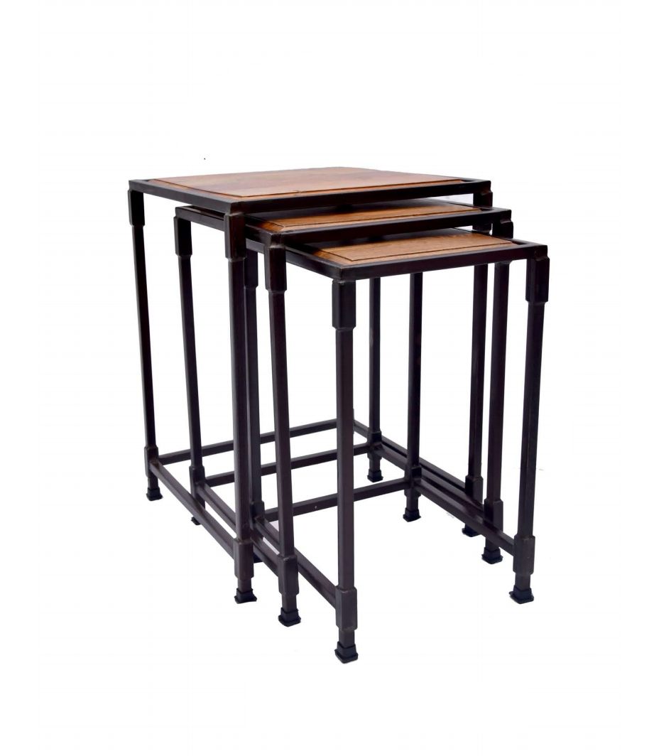 Metal and Wood Side End Tables Set of 3