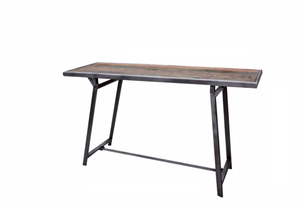Foldable Metal and Wooden Console Table