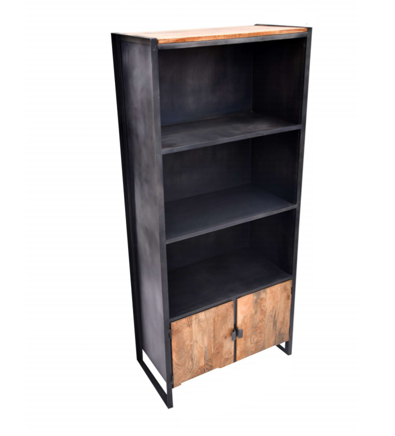 Metal and Wood Open Cabinet with Shelves