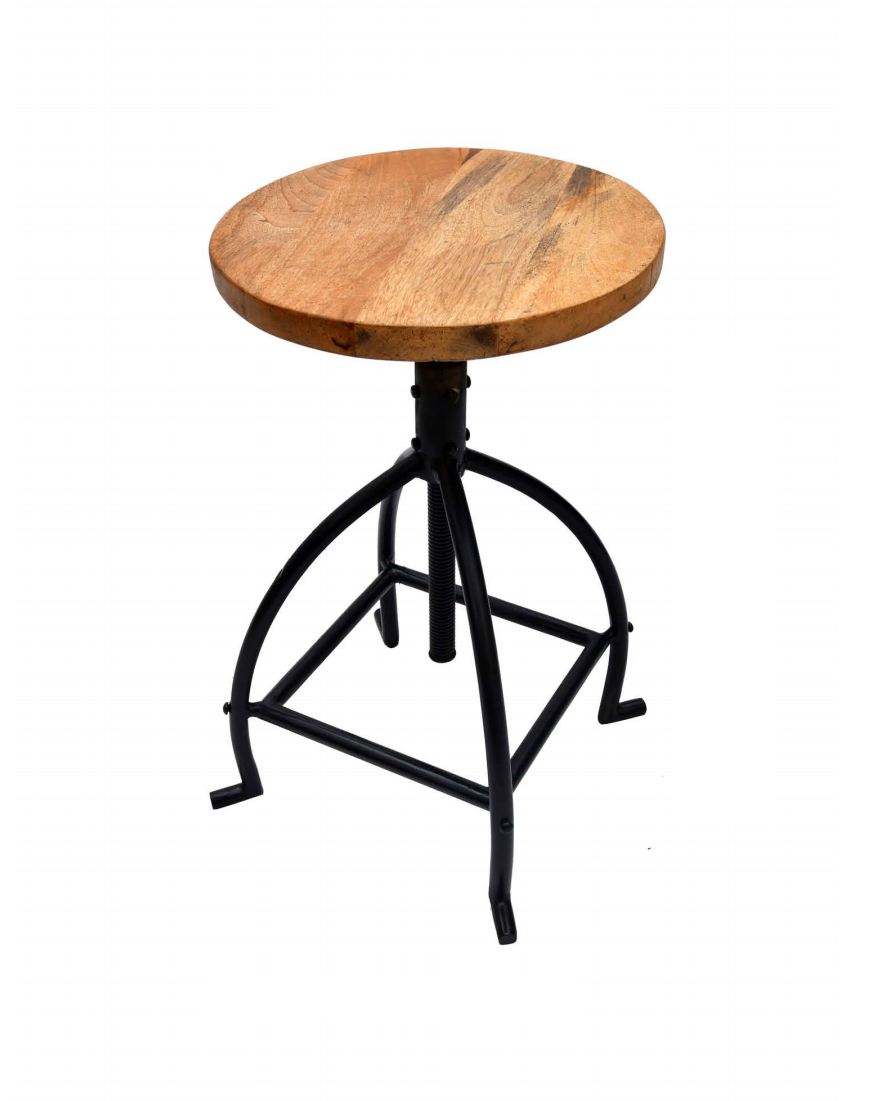 Round Metal Bar Stool Wooden Seat