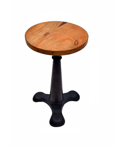 Metal Bar Stool - Round Wood Seat