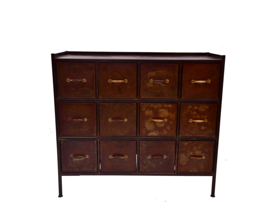 Metal Storage 12 Drawer Chest with Handles