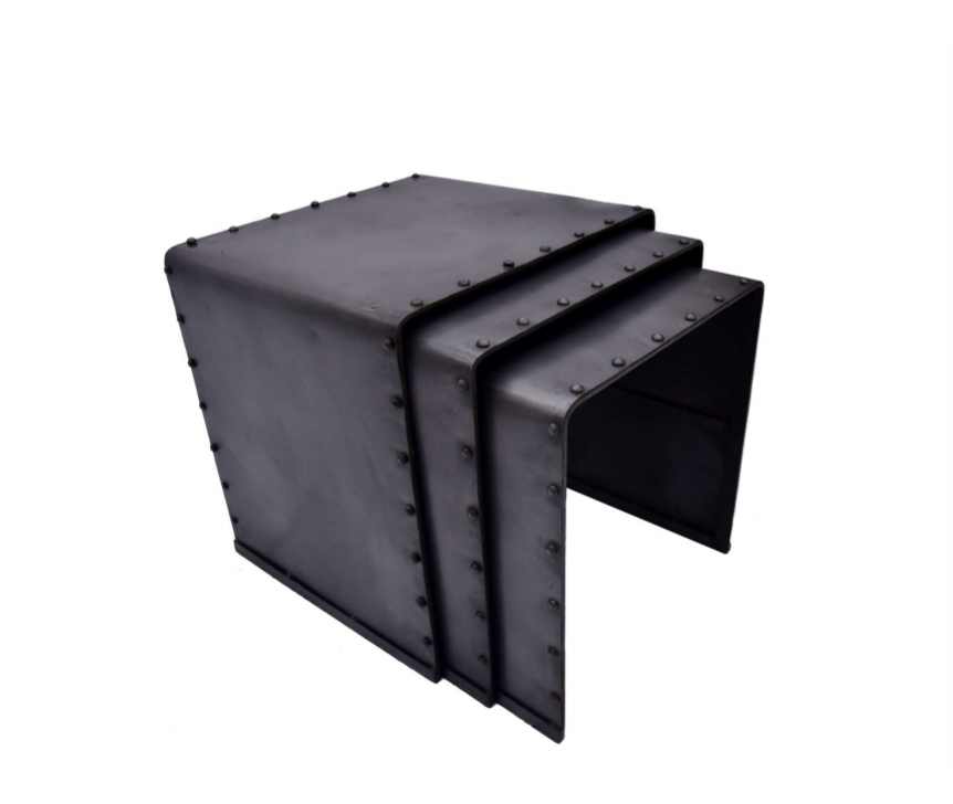 Black Metal Side End Tables Set of 3