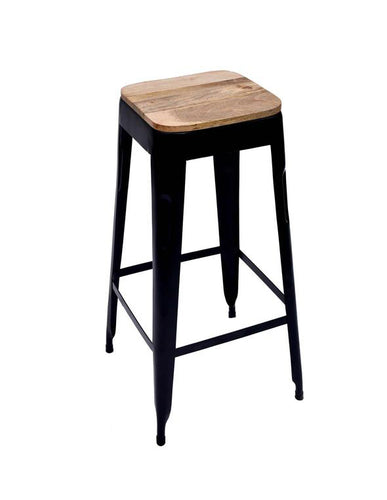 Bar Stool Black Wooden Seat Set of 4