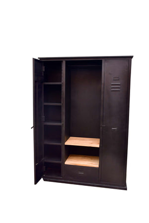 Metal Storage Cabinet with Wood Shelves