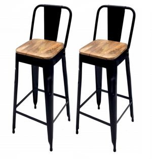 Bar Chair Black Wooden Seat Set of 2