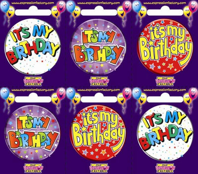 BADGES SMALL 55MM IT'S MY BIRTHDAY PK6