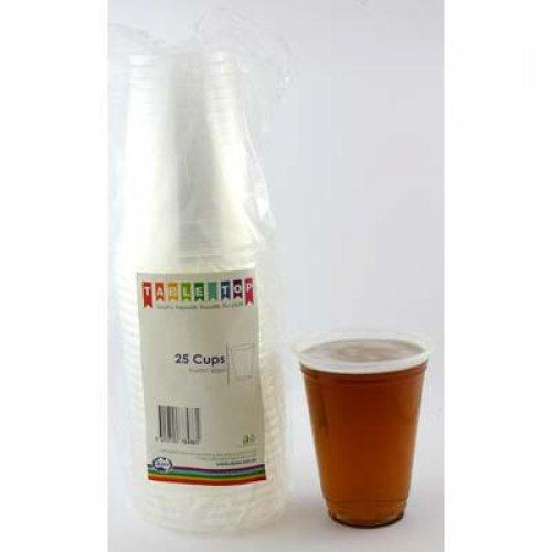 BEER CUPS 425ML - CLEAR PK25