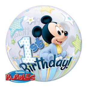 BUBBLE BALLOON 55CM - 1ST BIRTHDAY MICKEY MOUSE