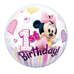 BUBBLE BALLOON 55CM - 1ST BIRTHDAY MINNIE MOUSE