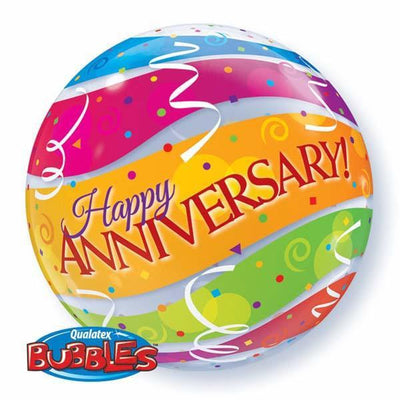 BUBBLE BALLOON 55CM - ANNIVERSARY COLOURFUL BANDS