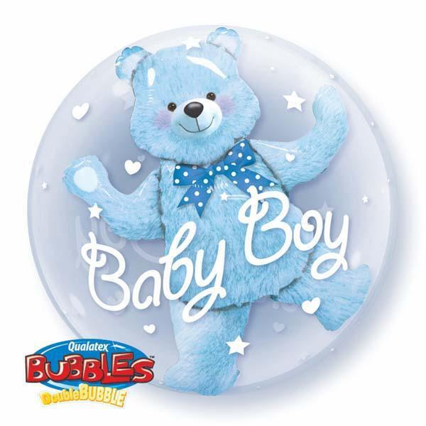 BUBBLE BALLOON 55CM - BABY BLUE BEAR DOUBLE BUBBLE
