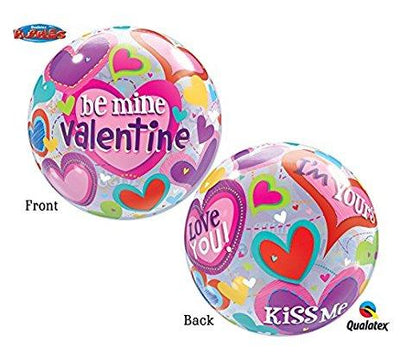 BUBBLE BALLOON 55CM - BE MINE VALENTINE
